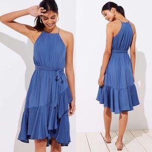 LOFT Blue Ruffle Tie Waist Halter Dress